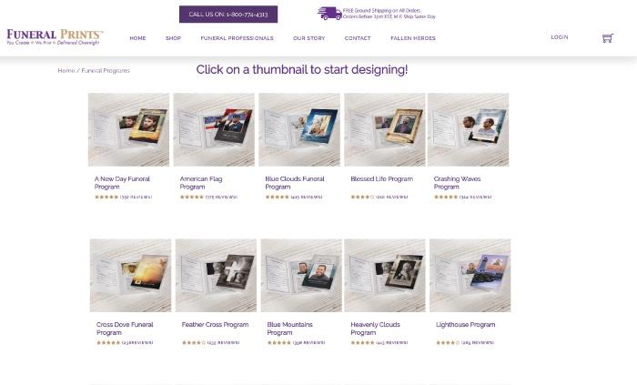 Funeral Prints website screenshot